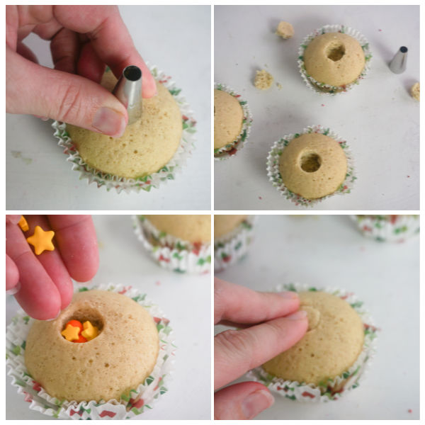 how to hide sprinkles inside a cupcake