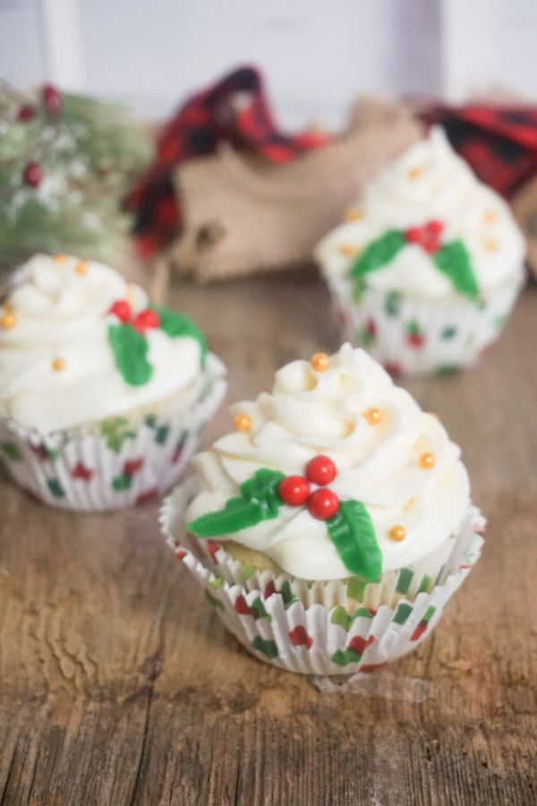 Christmas holly cupcakes