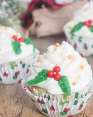decorated Christmas holly cupcakes