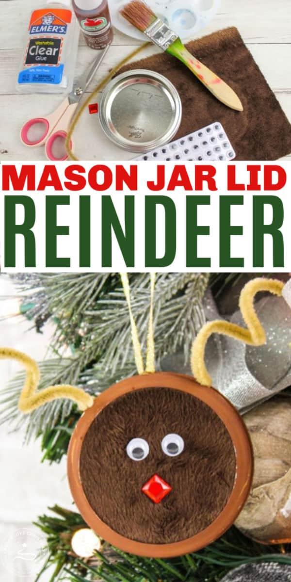 DIY Mason Jar Lid Reindeer Ornament
