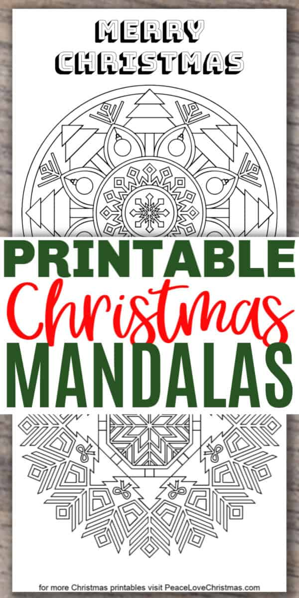 printable Christmas mandala coloring pages
