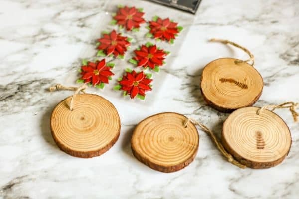 ingredients for DIY Wood Slice Ornaments