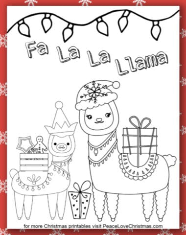 Printable Christmas Llama Coloring Page