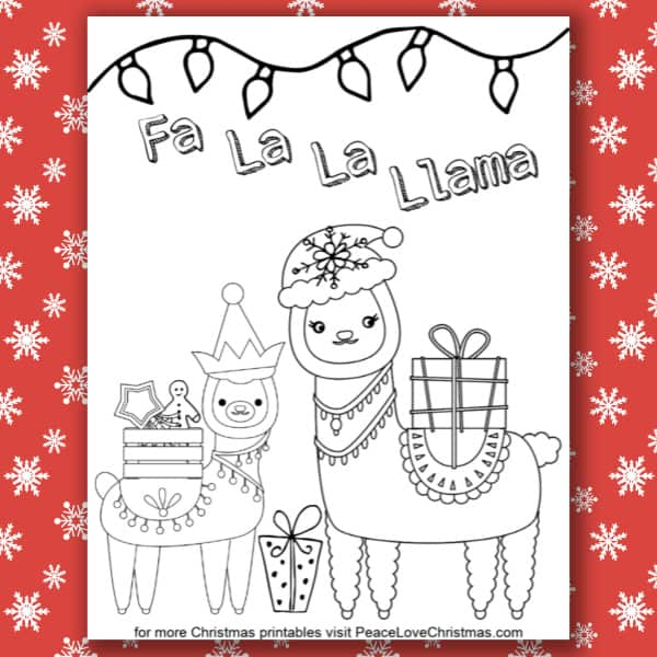 Printable Christmas Llama Coloring Page