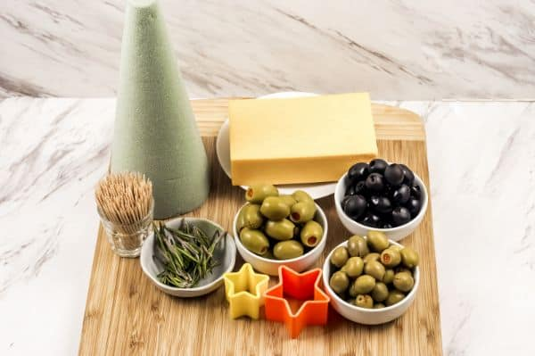ingredients for a Christmas appetizer tree