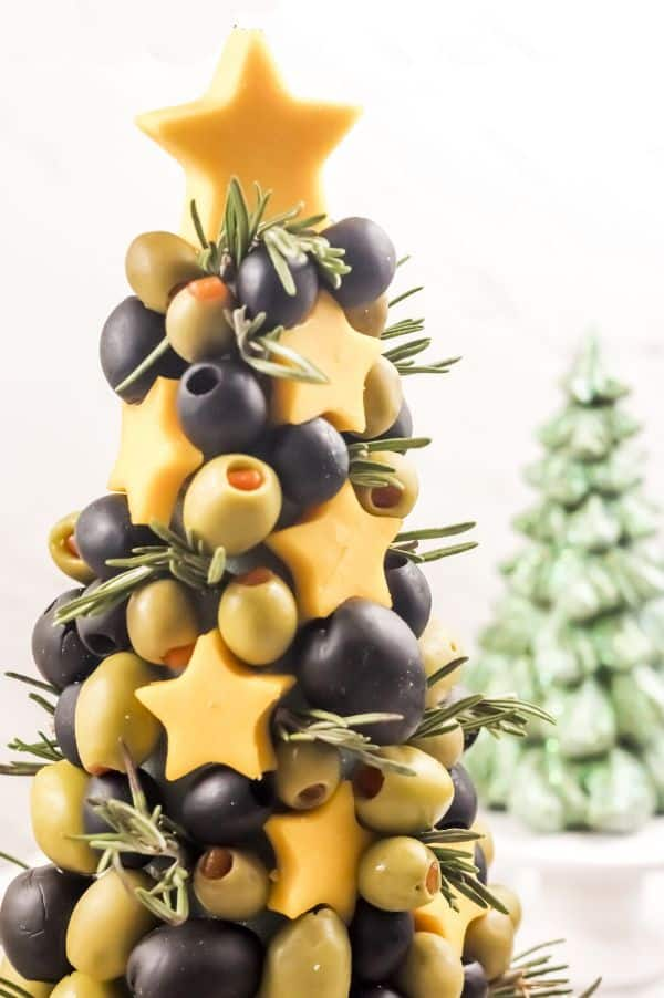 Christmas appetizer tree with olives and cheese