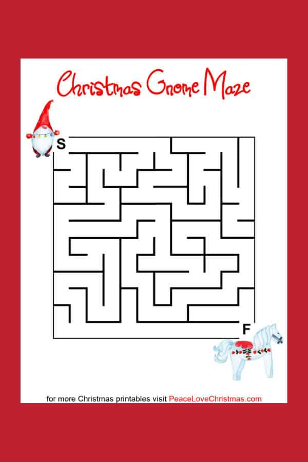 printable Christmas mazes with gnomes