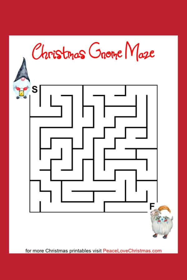 printable Christmas gnome mazes