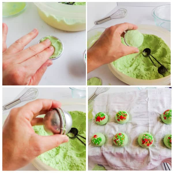 step by step instructions for Grinch bath bombs