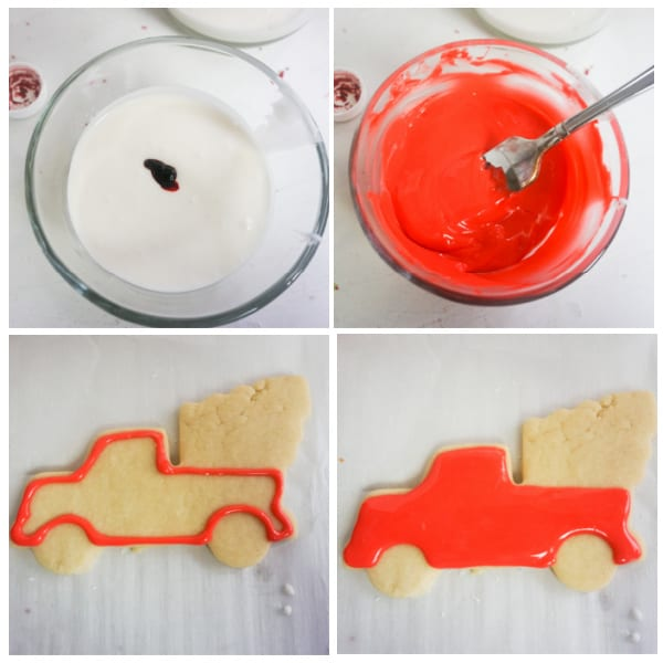 how to decorate red truck Christmas cookies