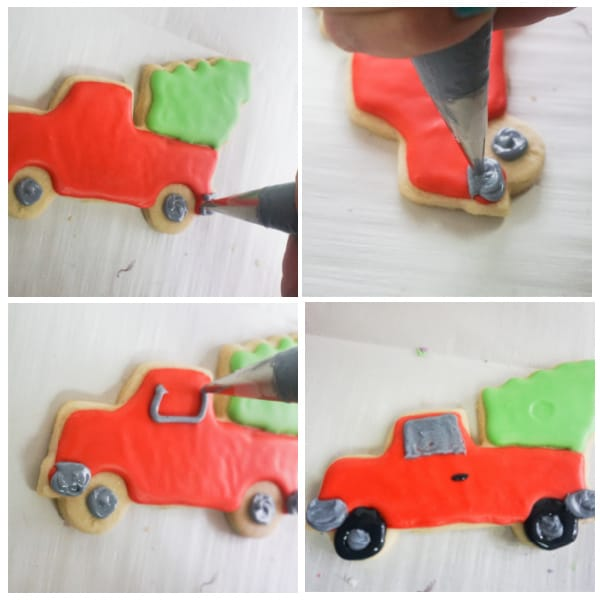 steps for decorating red truck Christmas sugar cookies