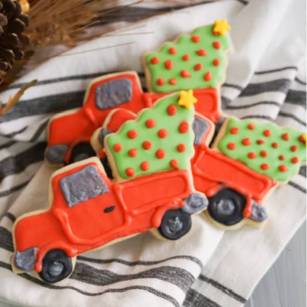 adorable Red Truck Christmas Cookies