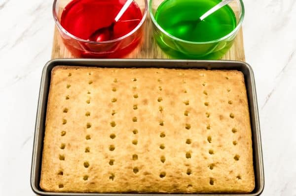 how to poke holes in a Christmas Jello Poke Cake