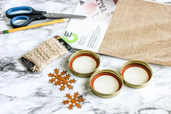 supplies for DIY Rustic Burlap Christmas Ornaments