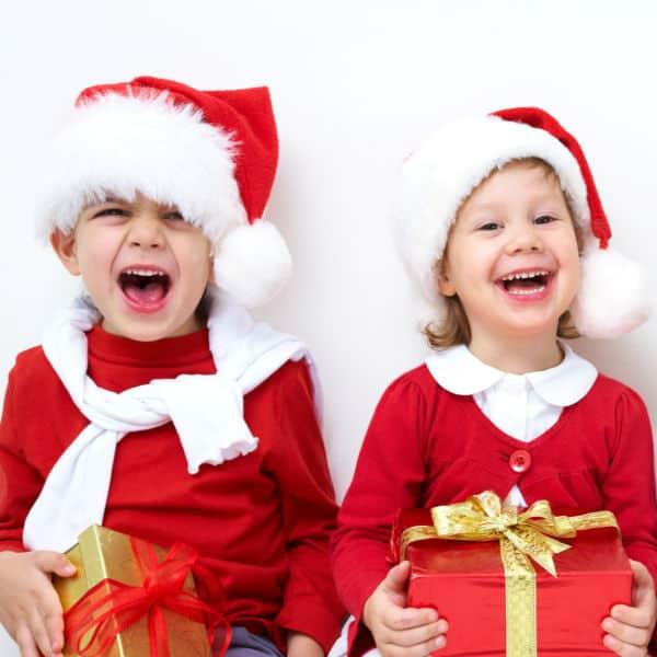 kids laughing at Christmas