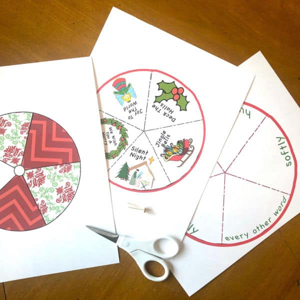 how to cut out Printable Christmas Song Spinner Game