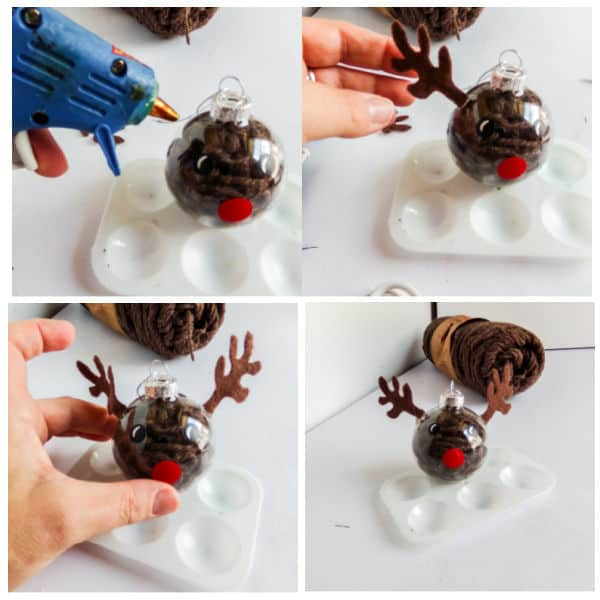 how to add antlers to a DIY Reindeer Ornament