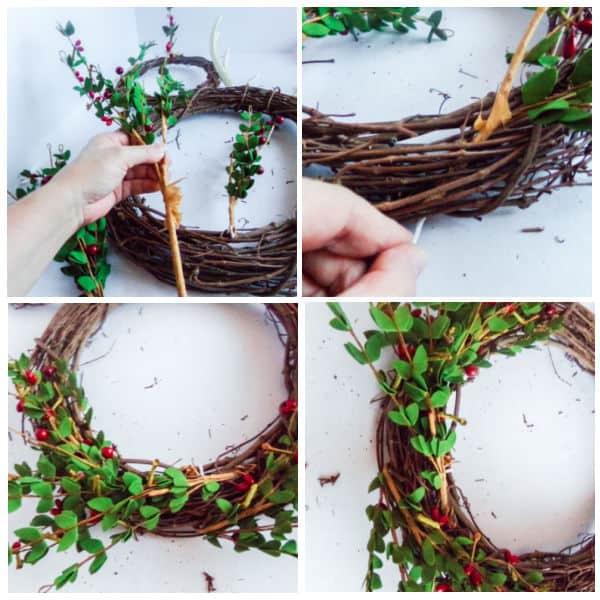 adding greenery to a Mickey wreath