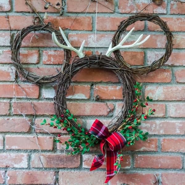 DIY Grapevine Mickey Christmas Wreath