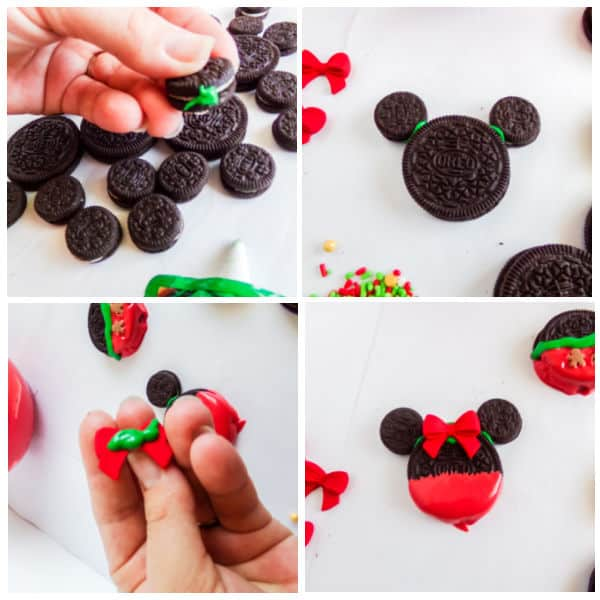 easy steps for making Easy Mickey Mouse Christmas Cookies with Oreos