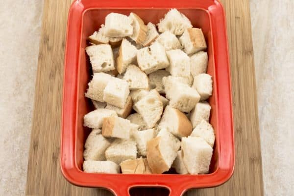 cubed bread for Easy Cranberry Sausage Stuffing
