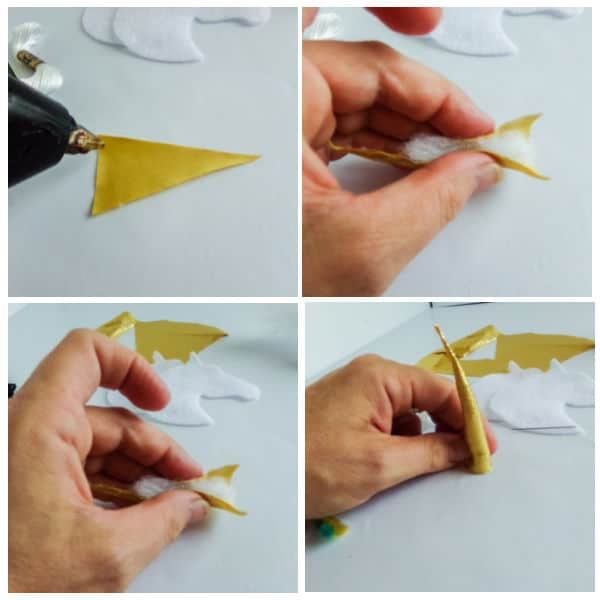 how to make the horn for a DIY Unicorn Christmas Ornaments
