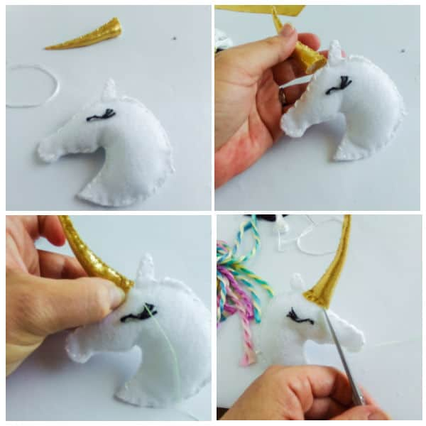 how to add the horn to a DIY Unicorn Christmas Ornaments