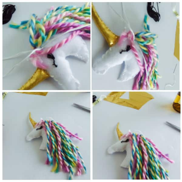 how to add mane to a DIY Unicorn Christmas Ornaments