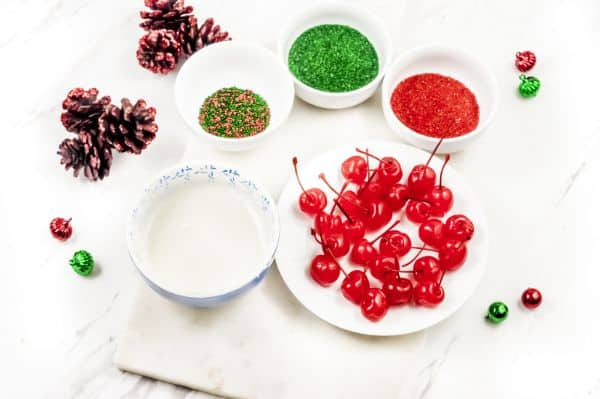 ingredients for homemade Christmas Chocolate Covered Cherries
