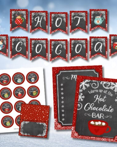 hot cocoa bar ideas and printables