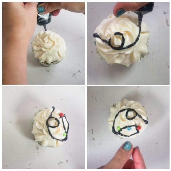how to decorate Christmas Lights Cupcakes