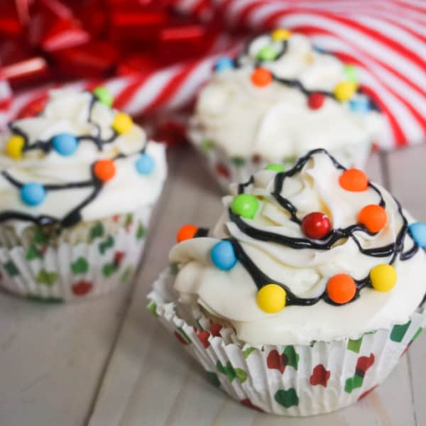 decorated Christmas Lights Cupcakes