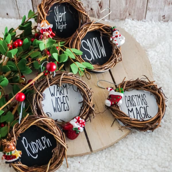 Grapevine Wreath Ornaments with free SVG cut files
