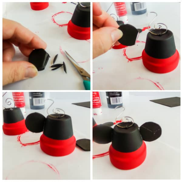 adding ears to Mickey ornament