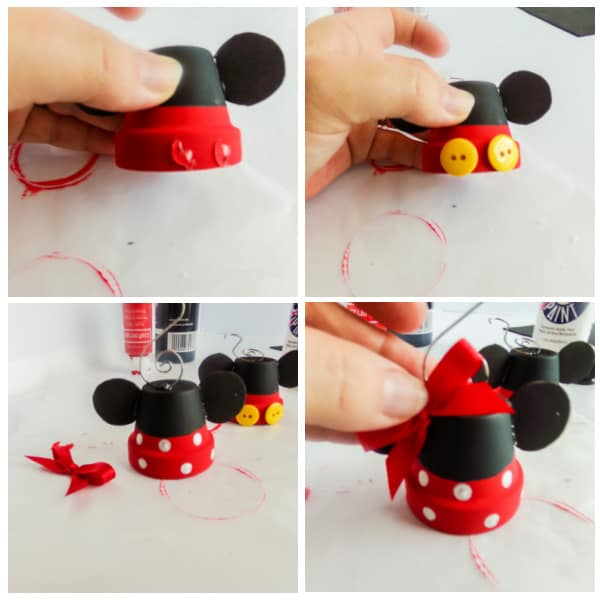 how to add buttons and polka dots to Mickey ornament