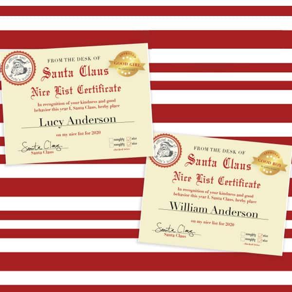 free editable Santa Nice List Certificate