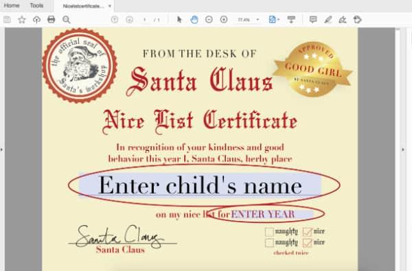 how to edit Santa Nice List Certificate