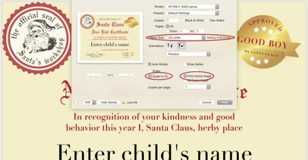 how to print Santa Nice List Certificate