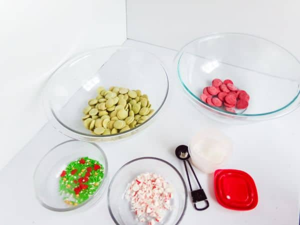 ingredients for Easy Christmas Grinch Bark Candy