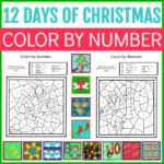 12 days of Christmas color by number printable set
