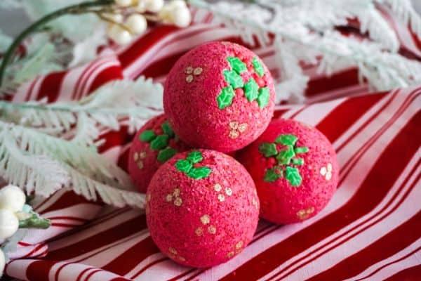 Red Holly Christmas bath bombs