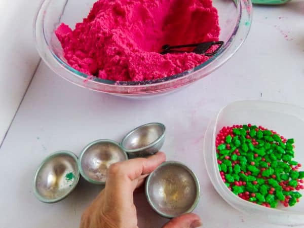 getting ready to make holly Christmas bath bombs