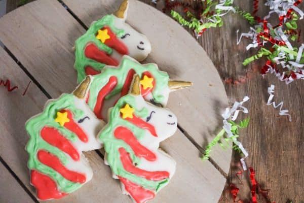 unicorn cookies arranged for Christmas