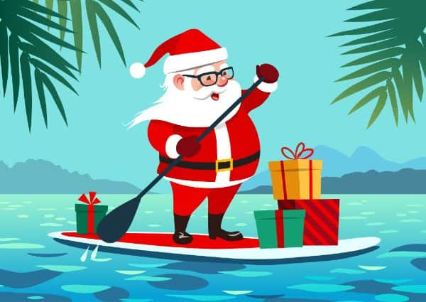 Christmas in July Santa on a surfboard