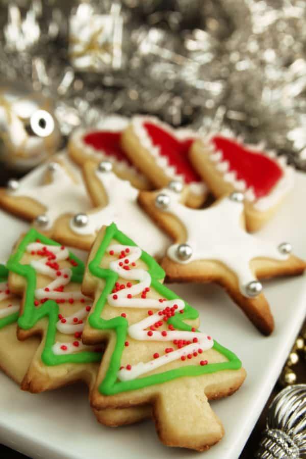 platter of elegant Christmas sugar cookies
