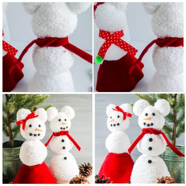 adding scarves to sock snowmen