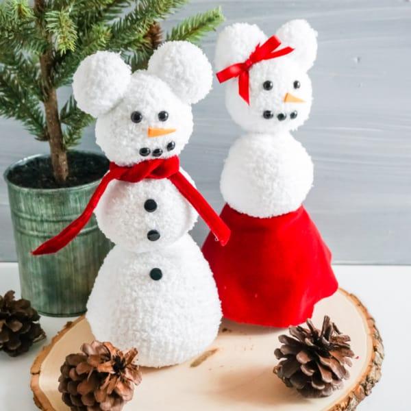 Mickey sock snowman craft