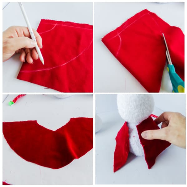 steps for making a cape for a Minnie Mouse sock snowman