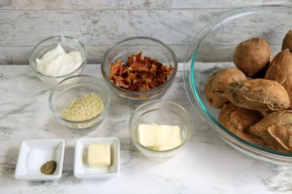ingredients for twice baked sweet potato casserole with bacon
